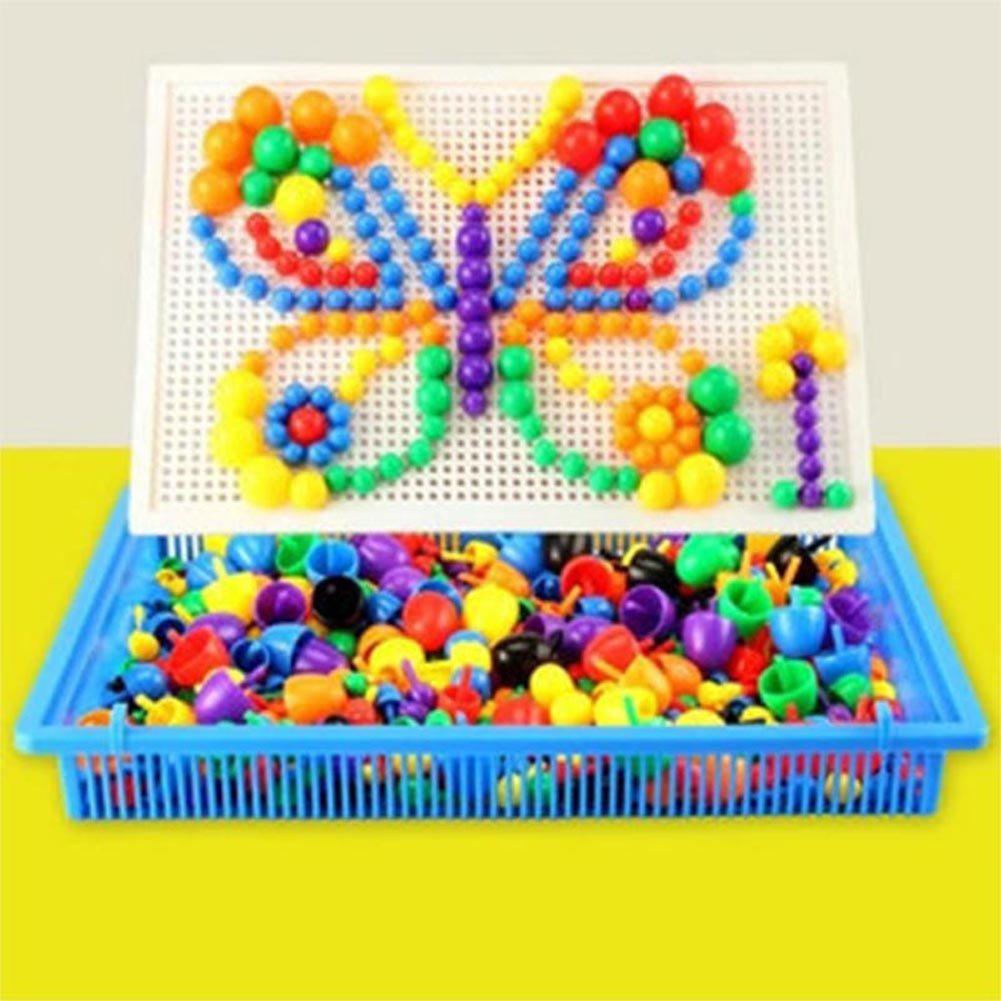 EQLEF® 296 pcs Creative Mushroom Kit Nail bricolage Puzzle Jouets Mosaic Pegboard enfants Early Jouets éducatifs