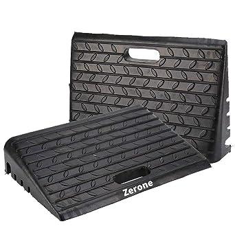 2 pcs Goma Rampa , Heavy Duty coche rampas para bordillos de caucho negro silla de ruedas ...