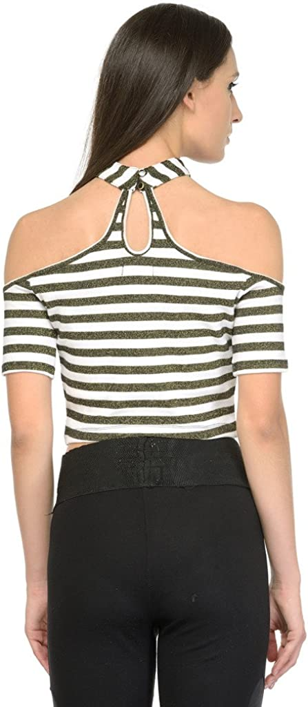 Zastraa Womens Striped Off Shoulder Crop Top With Choker
