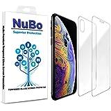 NuBo iPhone XsとiPhone X用強化ガラススクリーンプロテクター 前面と背面 ケースに優しい 傷防止ガラスプロテクター 耐油性 気泡フリー スクリーンプロテクター iPhone XsとiPhone X用