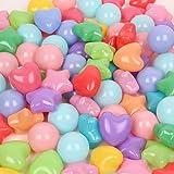 Mazhashop 海洋ボールのおもちゃ 星形 愛の形 50個入り 直径6.5cm やわらかポリエチレン製 収納ネットセット(子どもの脳力開発/装飾/プール/ボールハウス用) (50個, 混合形)