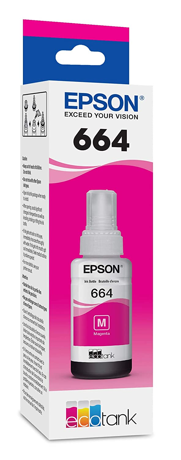 Cyan Epson 664 T664220-S ET-2500 ET-2550 ET-3600 ET-4500 ET-4550 ET-16500 EcoTank Replacement Ink Bottle in Retail Packaging