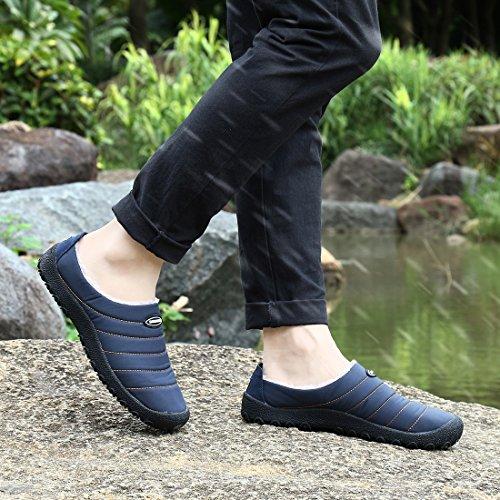 Blankey Homme Et Femmes Pantoufles En Coton Anti-dérapant En Cachemire Hiver Pantoufles Intérieures Et Extérieures Chaudes Bleu Foncé