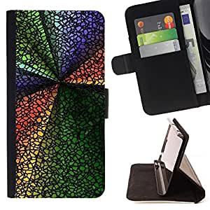 For Apple Iphone 4 / 4S Abstract Colors Style PU Leather Case Wallet Flip Stand Flap Closure Cover