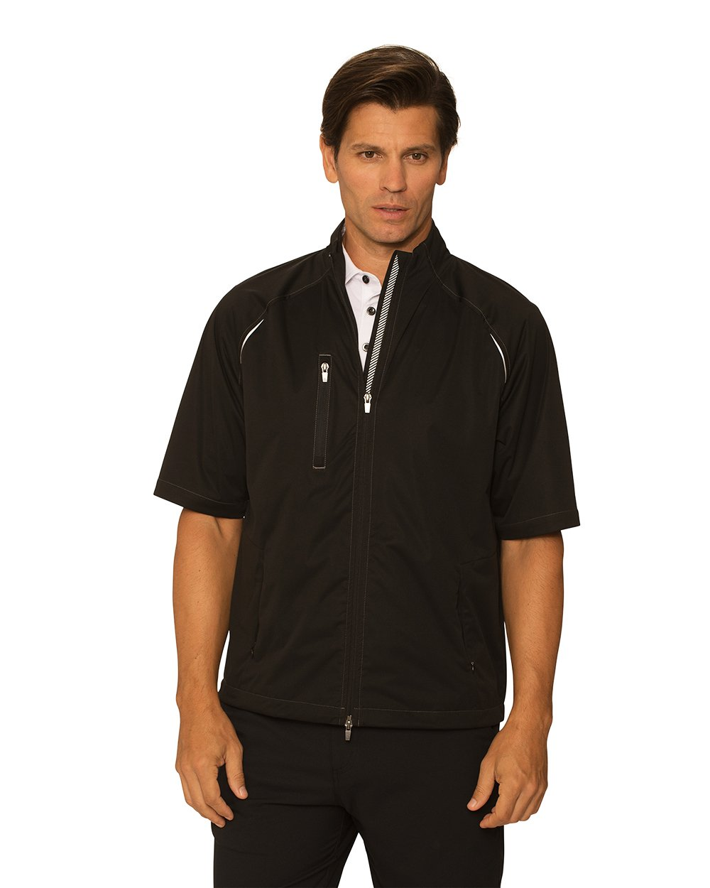 Chase54 Mens Bryce Short sleeve Wind Jacket, Black, Large