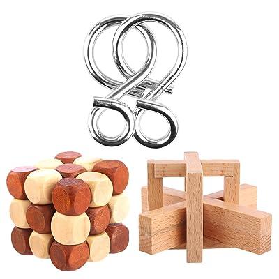 FOKOM 3pcs Calendrier de L'Avent Casse-têtes Puzzle Métal et Bois Puzzle 3D Brainteaser Jigsaw Jouet Intellectuel pour Adulte et Enfants