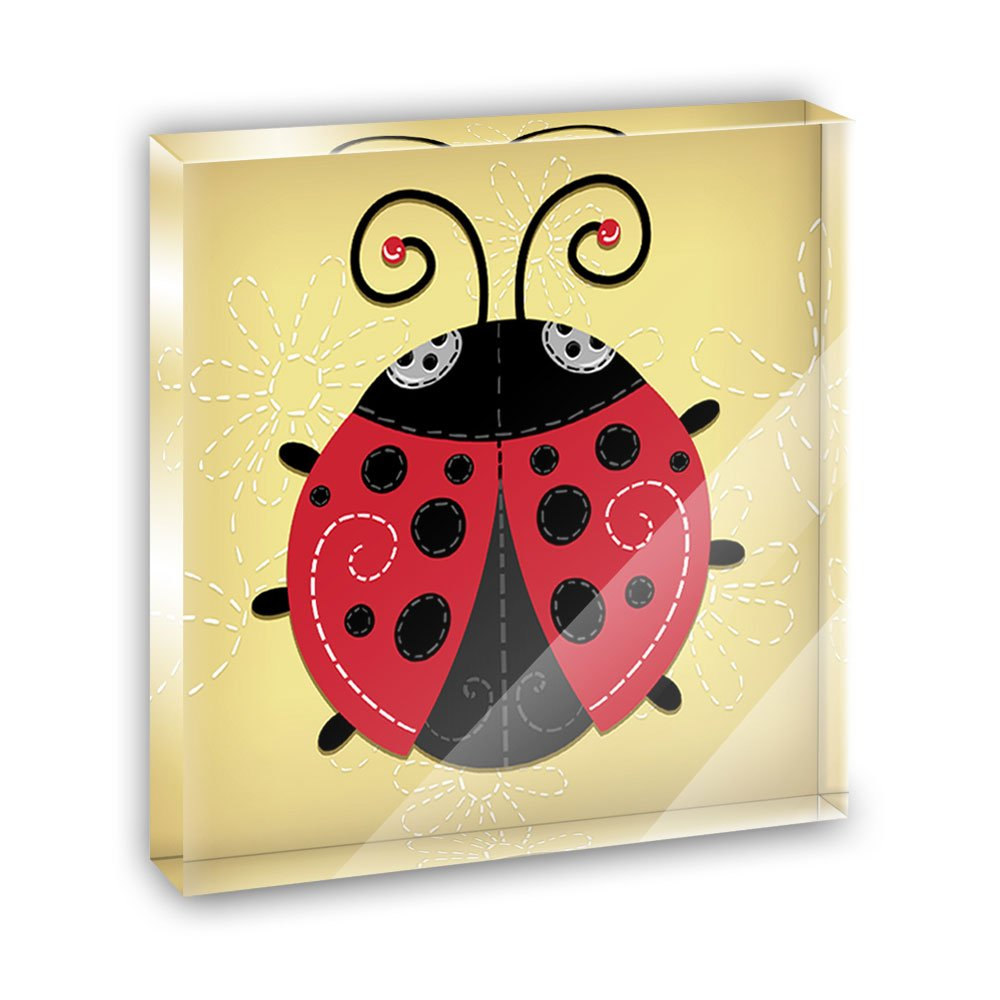 Cute Ladybug Acrylic Office Mini Desk Plaque Ornament Paperweight