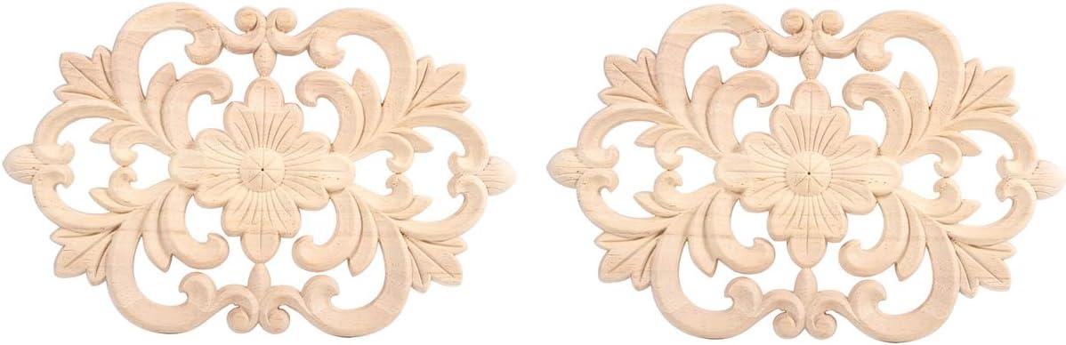Bois Sculpté Fleur Onlay Non-Peinte Applique Cadre Meuble Artisanat Déco