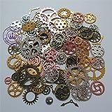 N'joy 100-Piece Skeleton Steampunk Clock Watch Gear Cog Wheel Pendant Charms, Assorted Colors