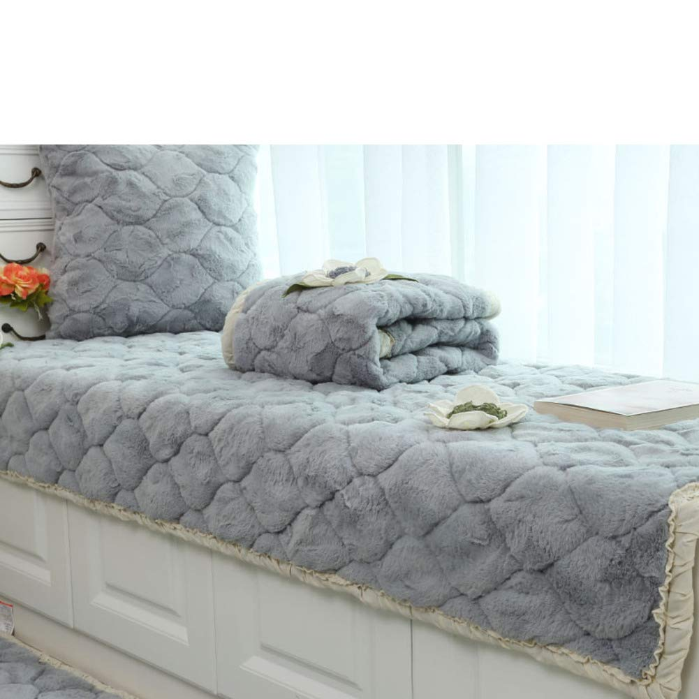 YU&AN Plush Thicken Bay Window mat Cushion,Padded Floating Window sill pad Non-Slip Tatami mat Bench Cushion Blanket Sofa mat-Gray 85x158cm(33x62inch)