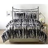 Cozy Beddings BH5008-Q Silhuett Black, White Queen/Full 3pc Comforter Set Queen/Full Black, White