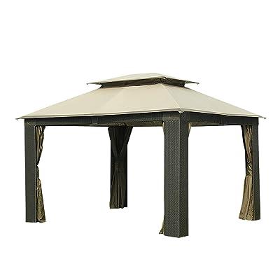 Sunjoy 110109505 Original Replacement Canopy for Aluminum & Wicker Antigua Gazebo (10X12 Ft) L-GZ806PAL-C Sold at BJ's, Sesame: Garden & Outdoor
