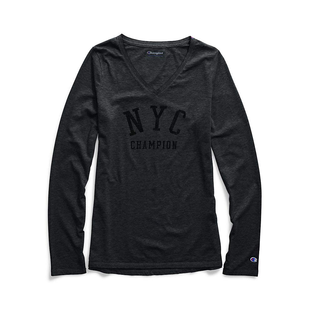 Champion Womens Authentic Wash Long Sleeve Tee-NYC (W3138G 549776) at  Amazon Women s Clothing store  172f6eb9c