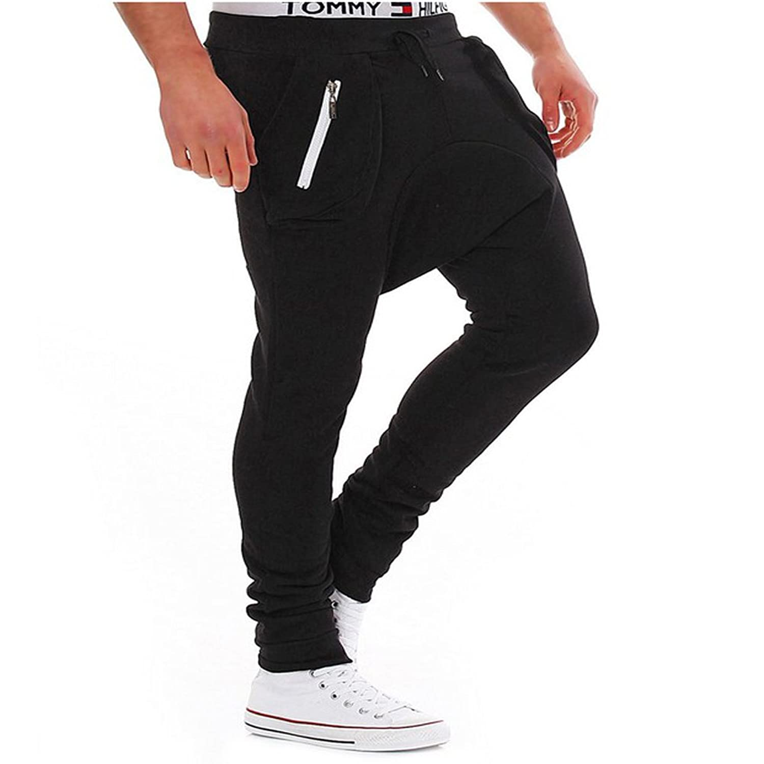 LifeShe Mens Fitness Workout Running Bodybuilding Joggers Pants with Zip at Amazon Mens Clothing store: