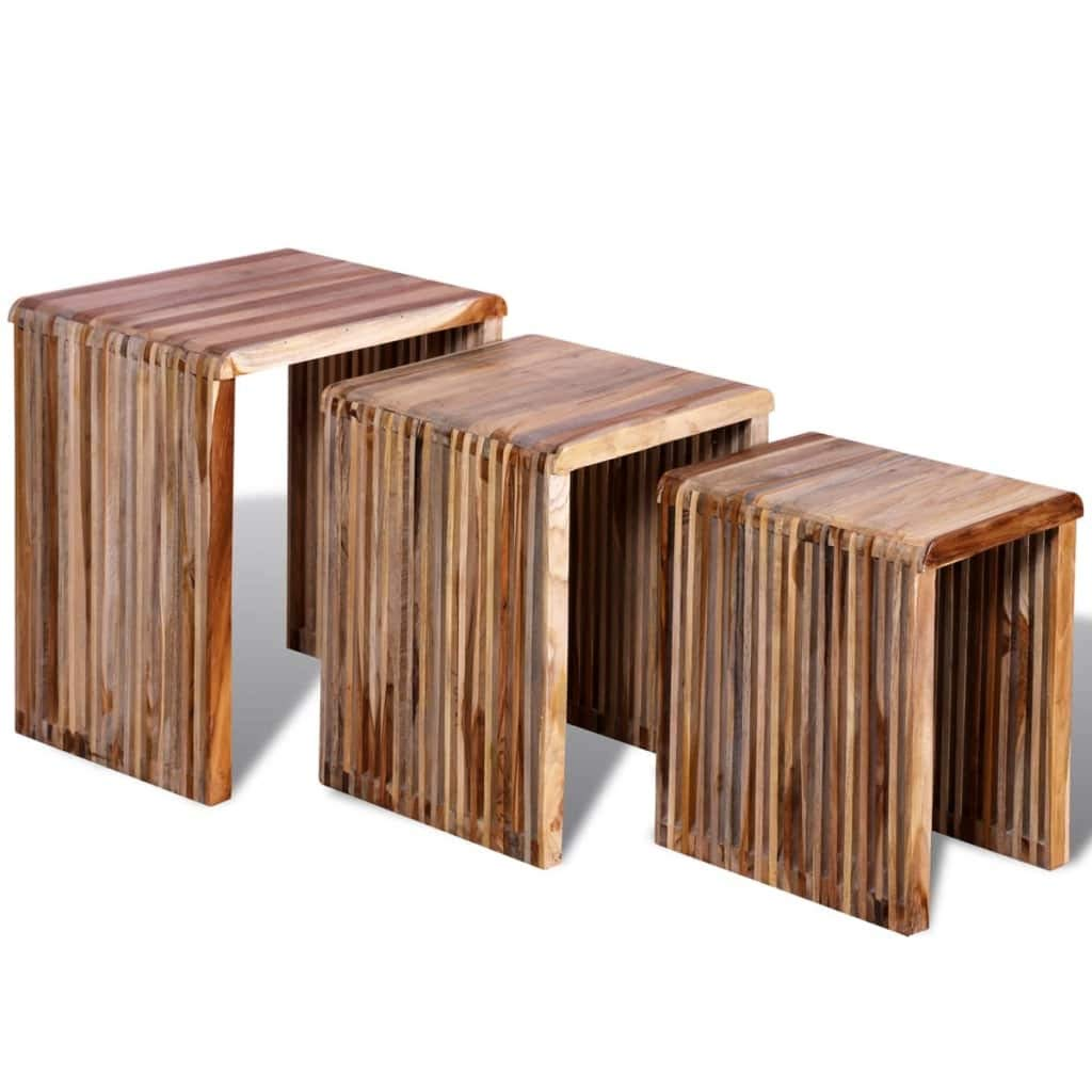 HELLOLAND Set of 3 Wood Nesting Tables Stackable Coffee End Table Set Living Room Sofa Snack Tables Space Saving Home Furniture (Reclaimed Teak) by HELLOLAND