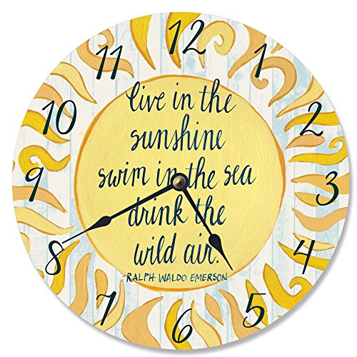 Stupell Home Décor Live In The Sunshine Swim in The Sea Vanity Clock, 12 x 0.4 x 12, Proudly Made in USA ()