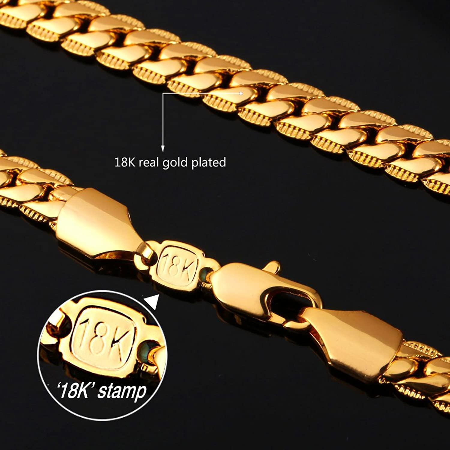 U7 Men Jewelry With 18K Stamp Hip Hop Snake Chain 6MM Wide 18K Gold