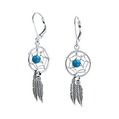 Bling Jewelry Feather Dream Catcher Sterling Silver Dangle Leverback Earrings