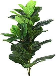"""Beebel Artificial Plants 38"""" Tall Fiddle Leaf Fig Tree Tropical Realistic Fake Plant Indoor Outdoor UV Resistant Faux Ficus Lyrata for Home Decor (38 inches)"""