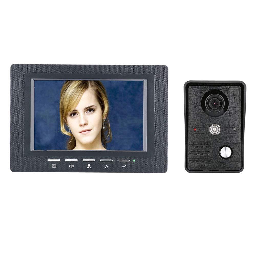 ZY 7 Pouces vidéo Porte téléphone Sonnette interphone Kit 1-caméra 1-Moniteur Vision Nocturne avec IR-Cut CMOS 700TV Lignes