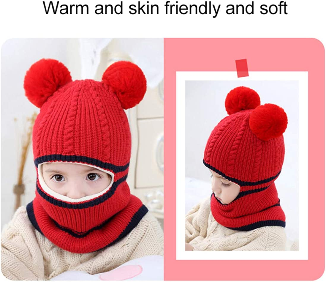 Christmas Kids Hat Scarf Set Knitted Warm Baby Beanie Scarf for Kids Boys Girls Winter Hat with Cute Pompom 2-5Y