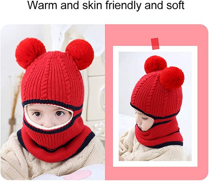 FEOYA Toddler Boys Girls Winter Beanie Knit Scarf Hat Warm Earflap Cap for Children Red 2-5Y