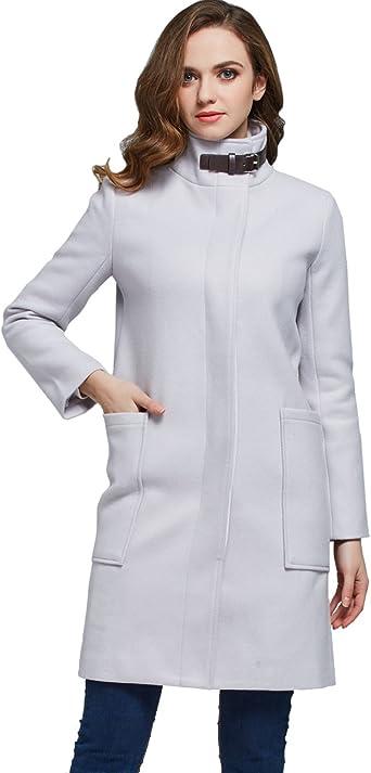 Camii Mia Womens Fashion Slim Fit Wrap Swing Wool Overcoat