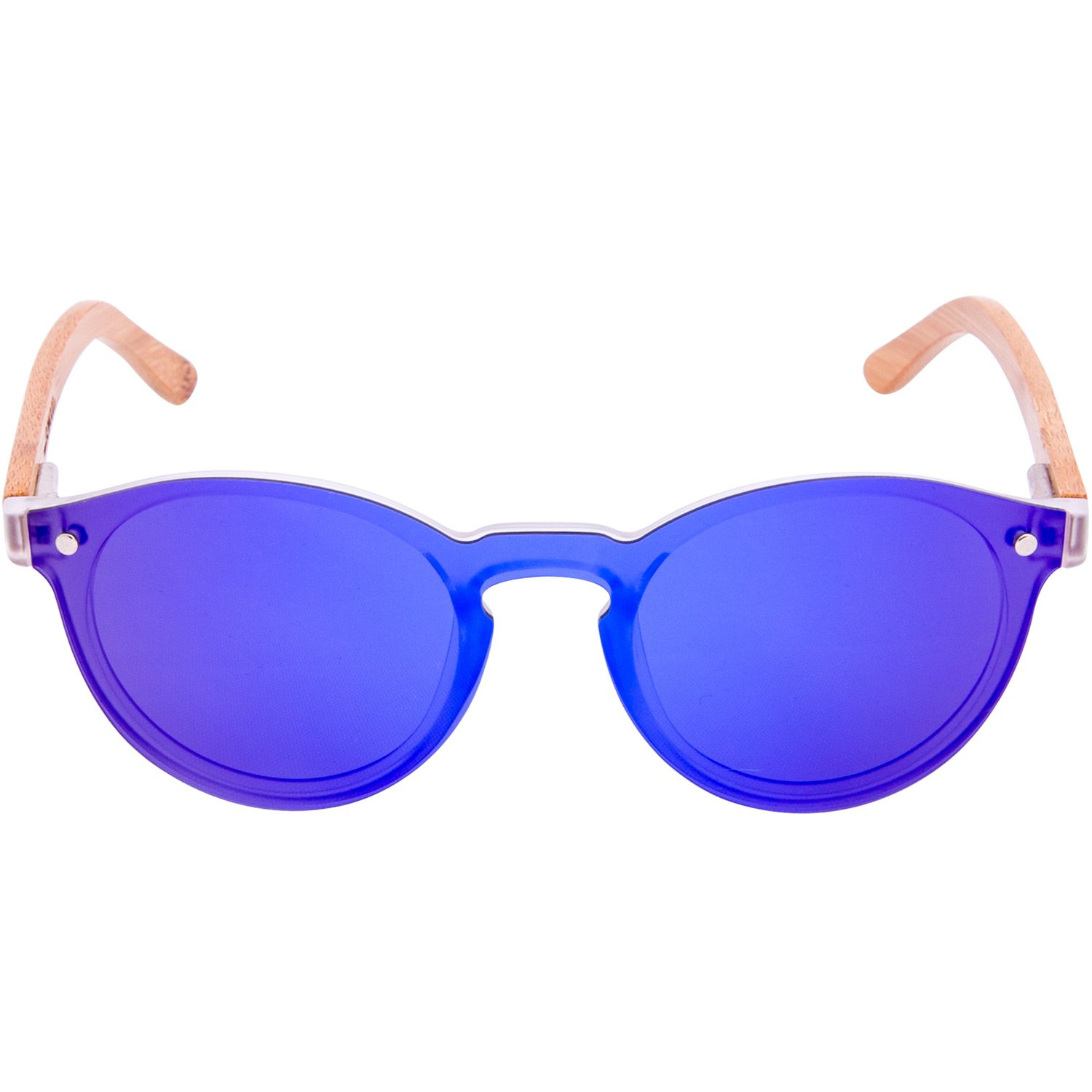 2f602f4fdf Amazon.com  Round Reflective Wood Sunglasses Bamboo For Women   Men with  Special One Piece Style Blue Mirrored Polarized Lens and with Wood Box   Clothing