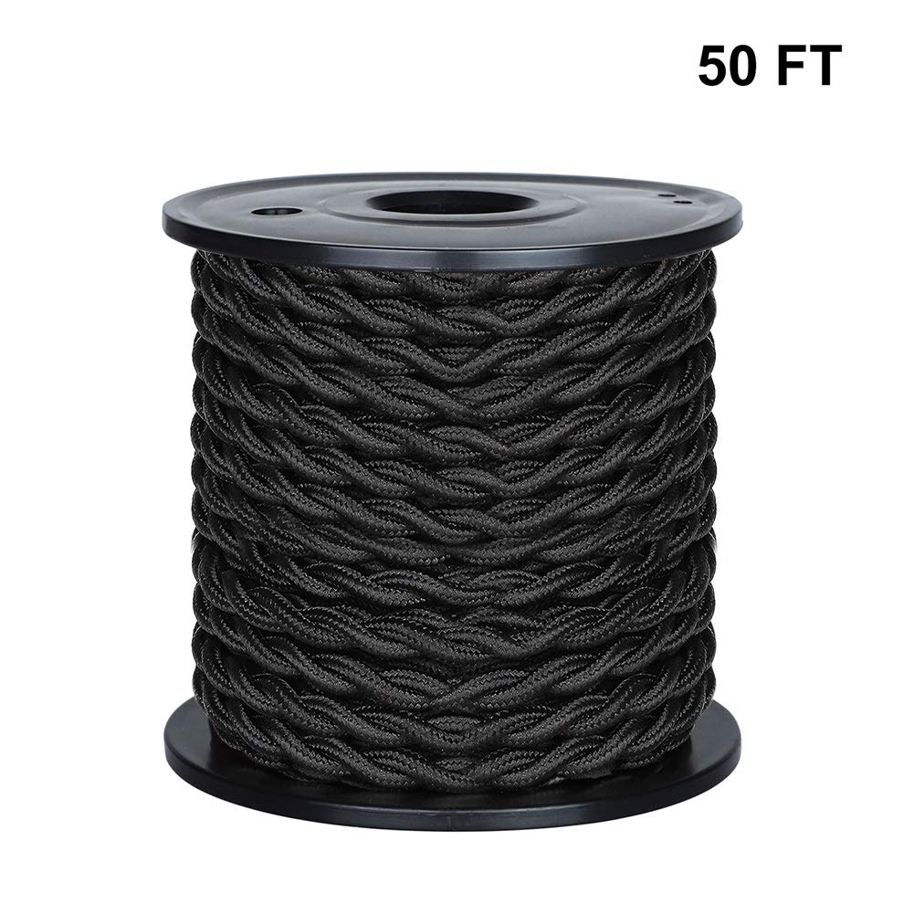 [UL Listed] 50ft Twisted Cloth Covered Wire, Carry360 Antique Industrial Electronic Wire, 18-Gauge 2-Conductor Vintage Style Fabric Lamp/Pendant Cloth Cord Cable (Black)