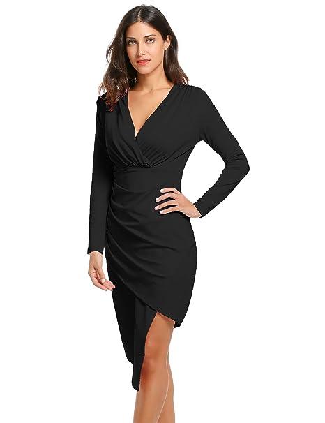 2f318517028 ACEVOG Women Long Sleeve V-Neck Irregular Hem Sexy Bodycon Pencil Wrap  Dresses