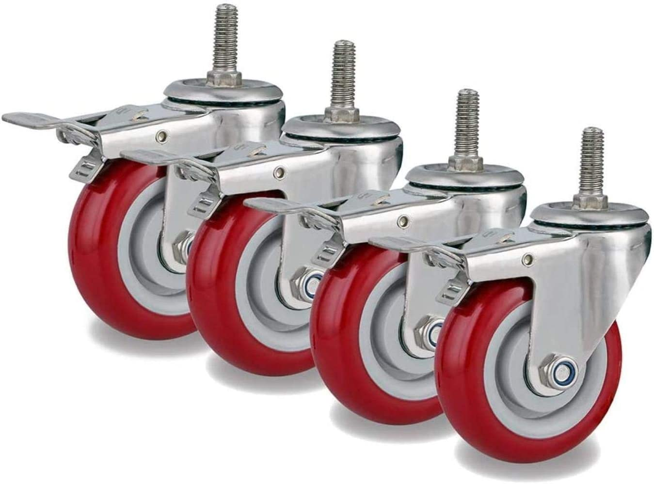Load Weight 800 Lbs,2 Swivel With Brake Office Chair Caster Wheels FANYF Swivel Casters X4 2 Brake Casters,63 Red Furniture Casters M12x30mm Threaded Rod Transport Castors Silent//Wear Resistant