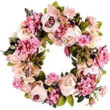"Lvydec Artificial Flower Wreath Peony Wreath - 16"" Door Wreath Spring Wreath Nearly Natural Round Wreath for the Front Door, Wedding, Home Decor"
