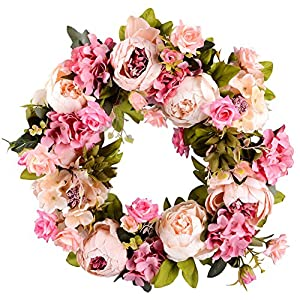 "Lvydec Artificial Peony Flower Wreath - 15"" Pink Flower Door Wreath Green Leaves Spring Wreath Front Door, Wedding, Wall, Home Decor 64"