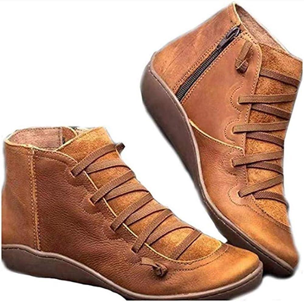 99AMZ Botas para Mujer - Botas de Cuero Otoño Invierno con Cordones Zapatos,Soporte del Arco,Botas Cómodas Botines de Plano Cremallera Botas Corta Botas Piel Botas