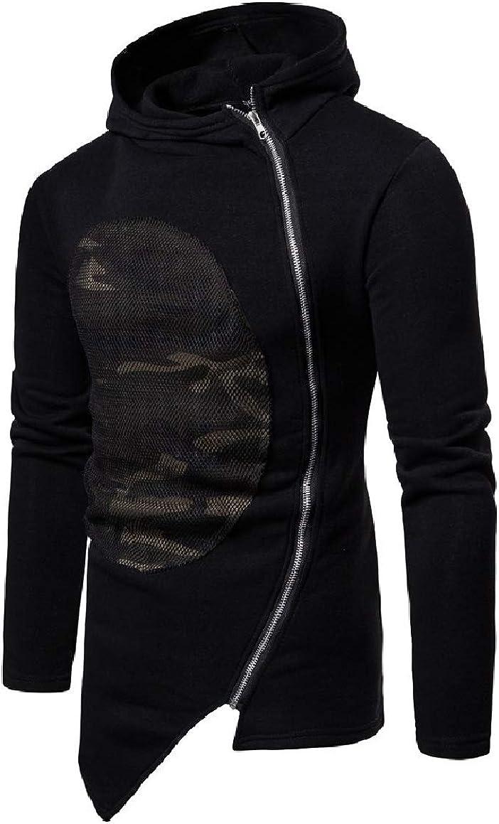 RingBongMen Camouflage Hooded Stitching Zipper Jackets Casual Sweatshirts Outwear