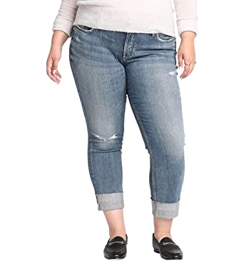 307eb251c9e Amazon.com  Silver Jeans Co. Women s Plus Size Mid Rise Boyfriend ...