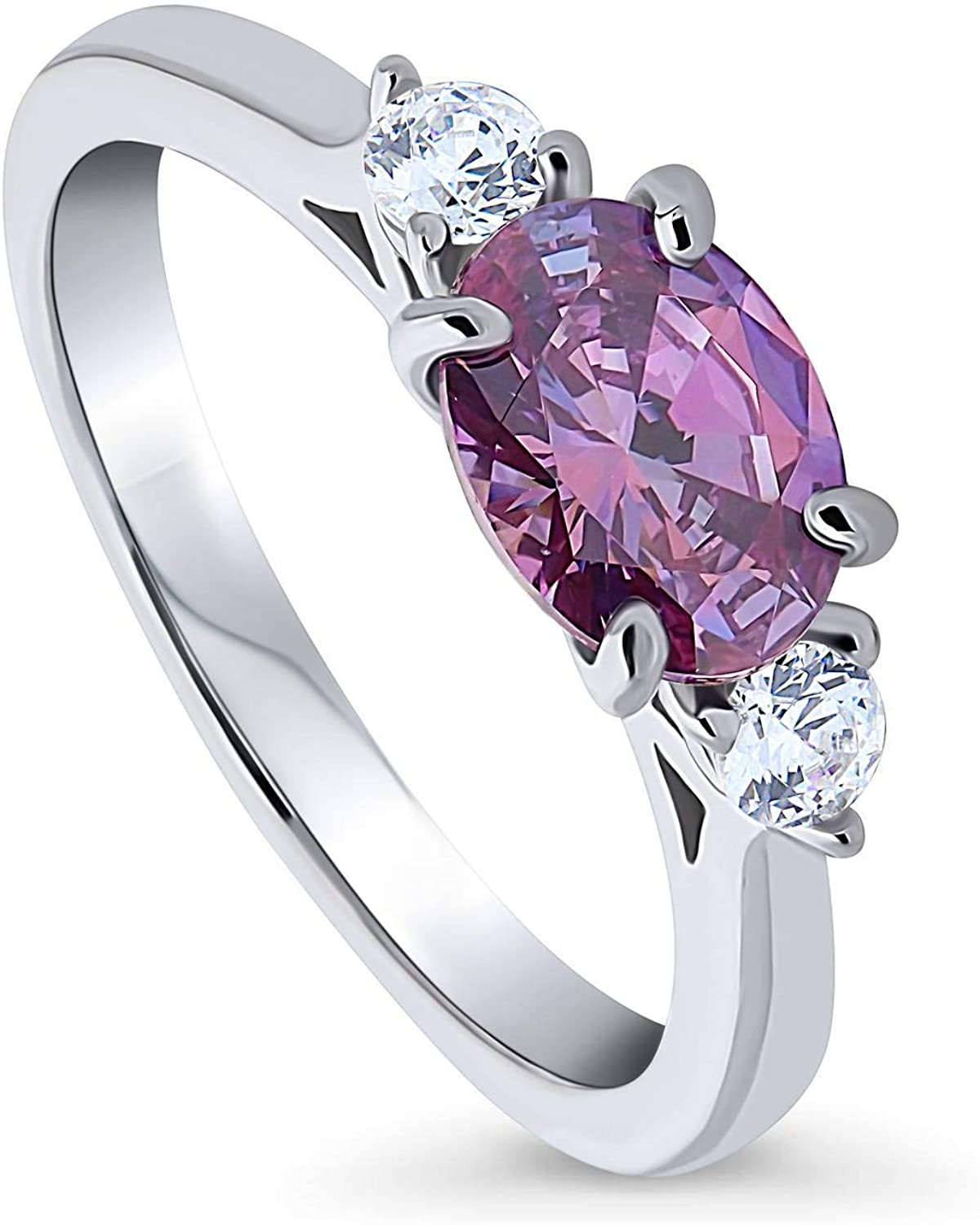BERRICLE Rhodium Plated Sterling Silver 3-Stone East-West Promise Ring Made with Swarovski Zirconia Purple Oval Cut