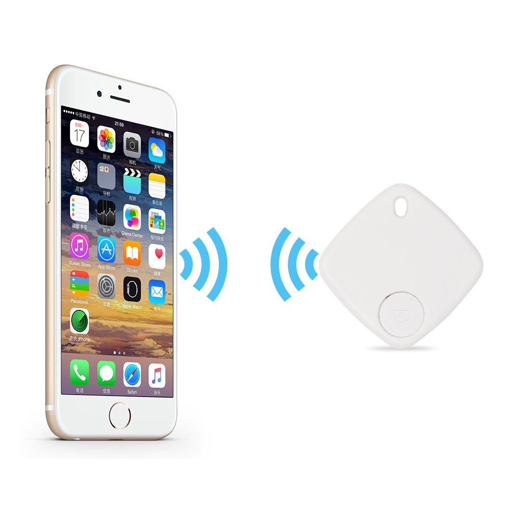 Key Finder Wireless Smart Tracker for Phone, Wallet, Keys Luggage Set Personal Belongings, Support Bluetooth Connection, Remote Control by Illumifun (White)