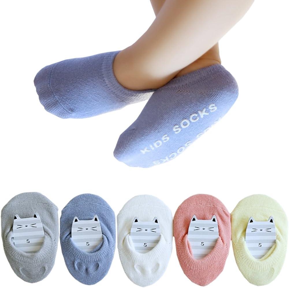 5Pack No Show Socks Low Cut Cotton Socks Non-skid Floor Crew Boat Shoes Socks