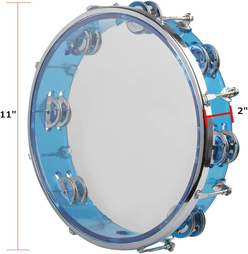 E-lishine Plastic Musical Percussion Tambourines,Dual Alloy Recording Combo Tambourine with 4 Bells Hand Bell Musical Toys for Kids 4 Pack Adults Blue