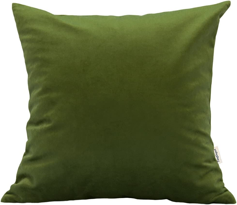 """TangDepot Solid Velvet Throw Pillow Cover/Euro Sham/Cushion Sham, Super Luxury Soft Pillow Cases, Many Color & Size Options - (20""""x20"""", Kiwi)"""
