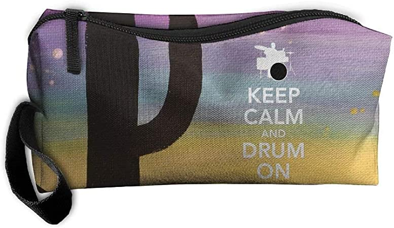 Keep Calm And Drum On Makeup Bag/Travel Cosmetic Bag/Brush Pouch Case With Zipper Carry Case: Amazon.es: Belleza