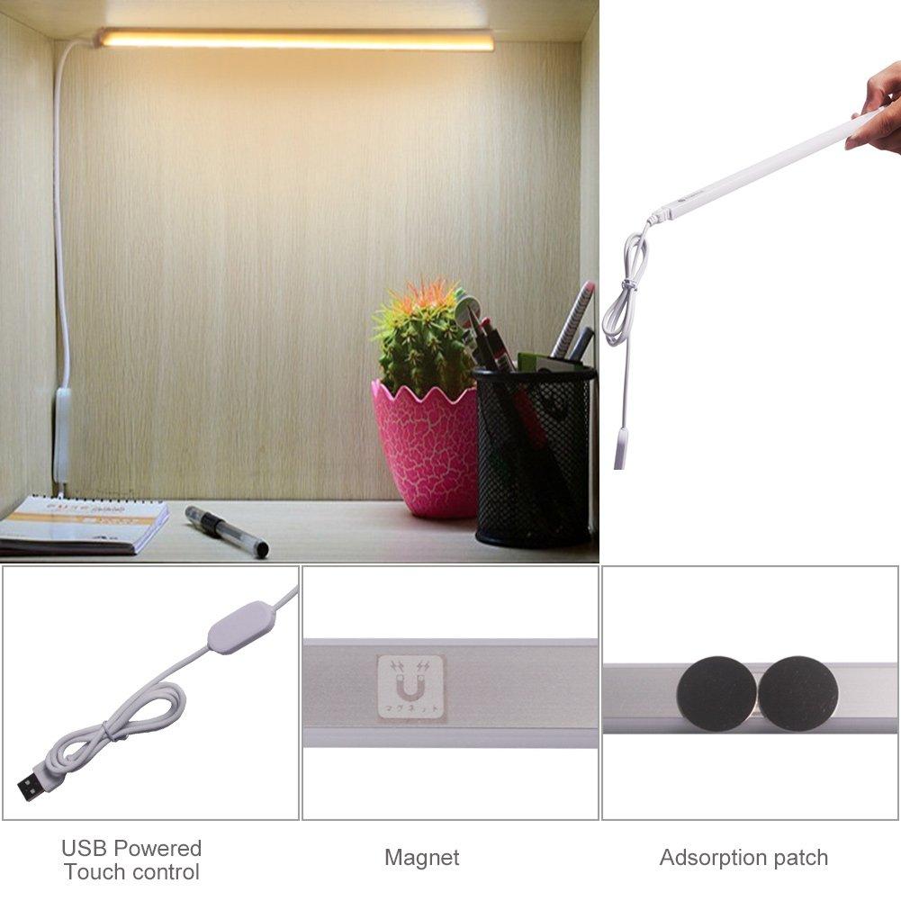 LED USB lámpara de escritorio Powered, Ryham regulable magnética para pegar en cualquier lugar de Gaza lámpara de mesa / Touch Control libro de la luz ...