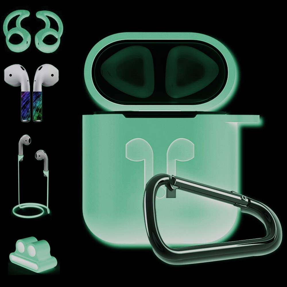 Venti Global Case Compatible with Airpords Case [Accessories Set Compatible Airpods ][Ear Hook Compatible Airpods][iWatch Band Holder][Silicone Cover] Best Kit for Apple AirPods Charging(Bright night)
