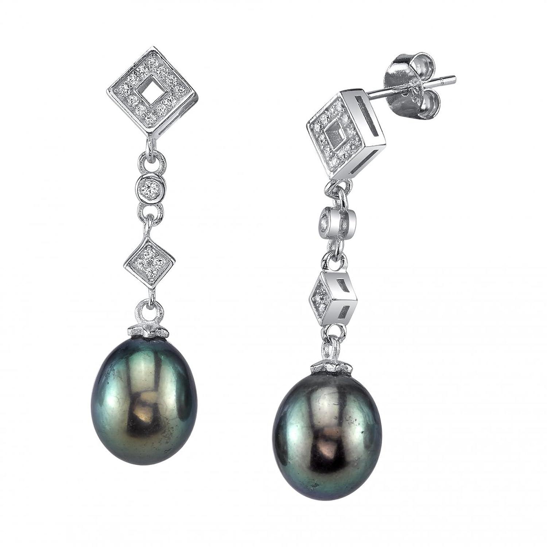 9mm Black Freshwater Cultured Pearl & Crystal Shape Earrings