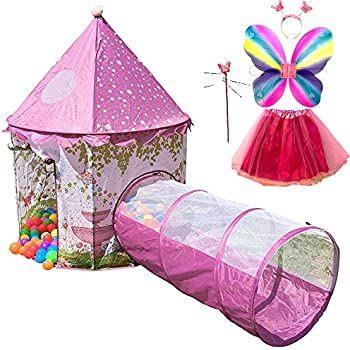 Playz 6-Piece Princess Castle Play Tent with Crawl Tunnel Butterfly Wings Tiara  sc 1 st  Amazon.com & Amazon.com: Discovery Kids Play Tent Princess Castle: Toys u0026 Games