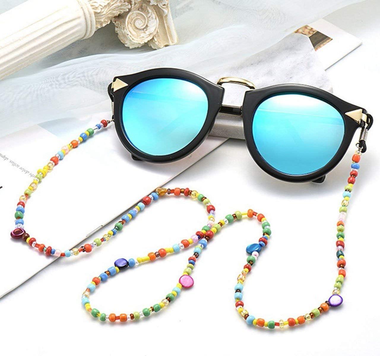 Catena per occhiali con perle colorate supporto per occhiali occhiali in velluto a coste e occhiali da sole catena per occhiali JAWSEU