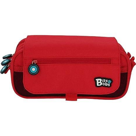 Grafoplás 37543251, Estuches 3 Compartimentos con Solapa, Bits & Bobs, Rojo, 23x10x10cm