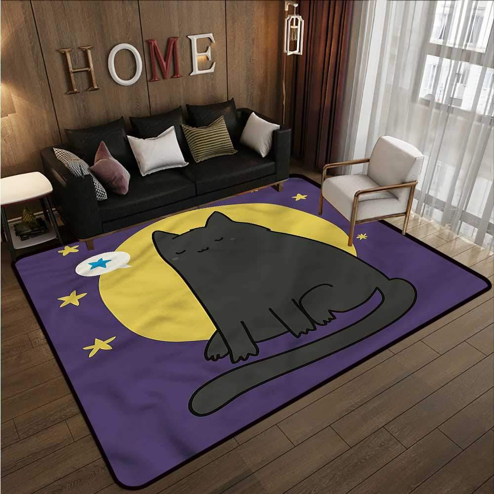 "Kitten,Kitchen Mat for Living Room 64\""x 96\"" Night Full Moon and Stars Printed Carpet"