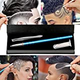 Hair Engraving, MagiForet Hair Tattoo Pen, Hair Razor Pen, Hair Tatoo Trim Styling Face Eyebrow Shaping Device, Hair Engraving Shaver Pen + 10 Blades + Tweezers for Men Women Teens (Blue)